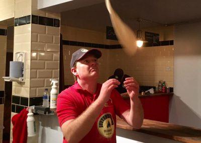 Throwing dough